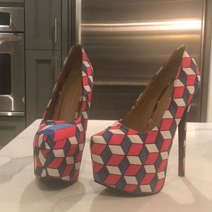 Liliana heels pink blue and white geometric